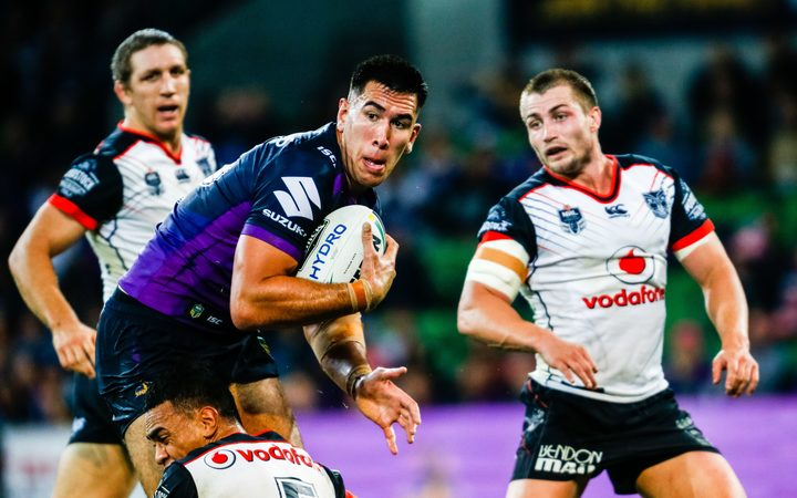 Melbourne Storm prop Nelson Asofa-Solomona playing against the Warriors.