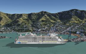 An artist's impression of Lyttelton Port's proposed cruise berth with the MS Oasis of the Seas.