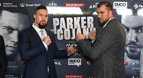 Joseph Parker and Razvan Cojanu square off after a heated press conference.