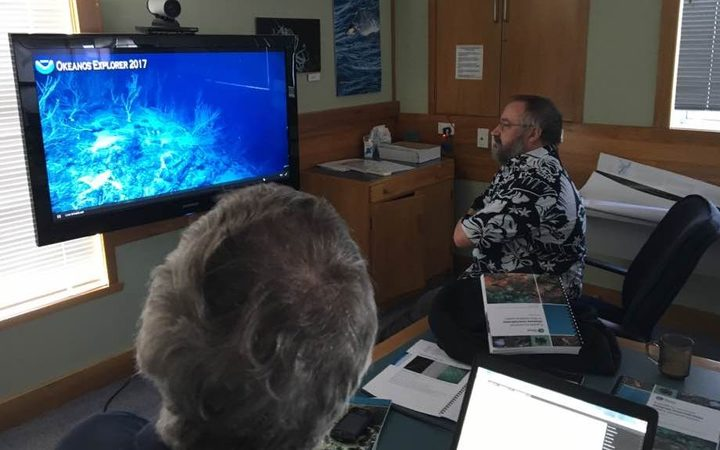 NIWA scientists in Wellington tune into a live feed from the ocean floor north of the Cook Islands as part of an exploratory mission by the NOAA ship Okeanos Explorer, May 2017