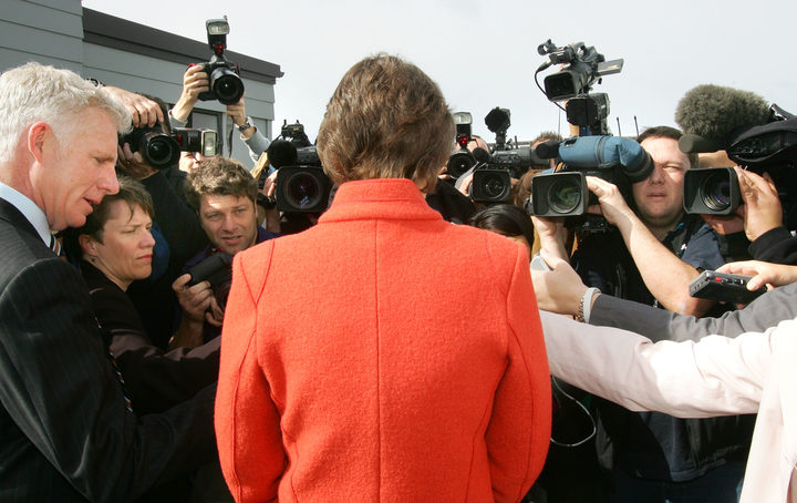 New Zealand Prime Minister Helen Clark speaks to members of the media at the Kowhai School polling in Auckland, 17 September 2005.