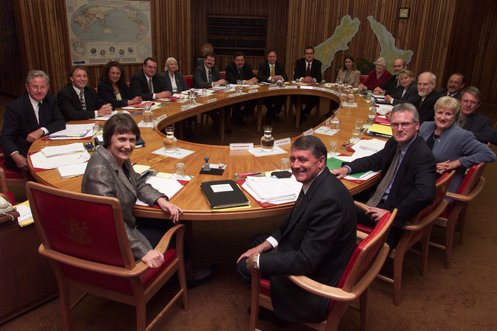 Helen Clark, Jim Anderton and the cabinet members of the Labour-Alliance coalition government, 1999