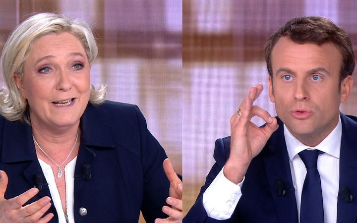 Far-right Frence presidential candidate Marine Le Pen and front runner Emmanuel Macron during the televised debate.