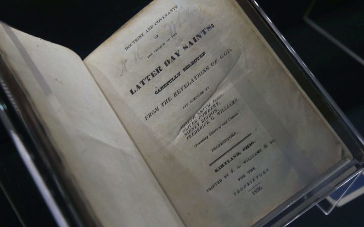 "An 1835, first edition of the Mormon scripture, ""Doctrine and Covenants"", revelations from Mormon Church Founder Joseph Smith, is displayed at the Church of Jesus Christ of Latter-Day Saints Church History Library."