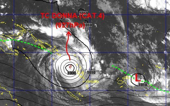 Latest satellite image of Donna, covering much of Vanuatu.