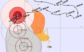 The forecast trajectory of Cyclone Donna on Sunday morning, showing the category four cyclone off the country's western coast. Vanuatu was still being hard hit though, forecasters said.