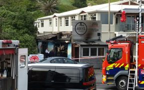 Adey's Place fish and chip shop in Piha was set alight, one of several fires lit in the beachside town overnight.