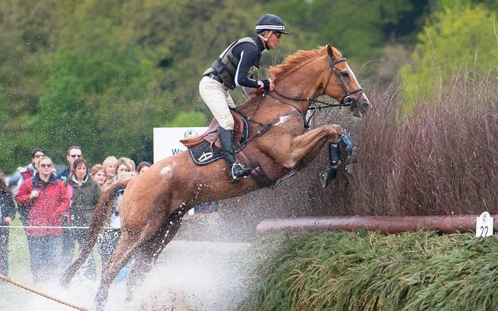 Andrew Nicholson (NZL) rides Nereo during the Cross Country phase at the 2017 Mitsubishi Motors Badminton Horse Trials.