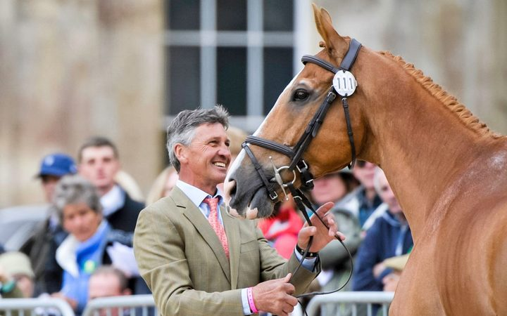 Andrew Nicholson, (NZL) with Nereo during the First Horse Inspection at the 2017 Mitsubishi Motors Badminton Horse Trials. Wednesday 3 May.
