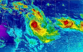 A satellite image of Cyclone Donna.