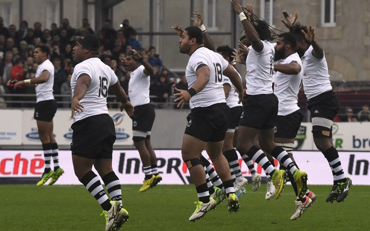 The Flying Fijians perform the Cibi before a test against Japan in November.