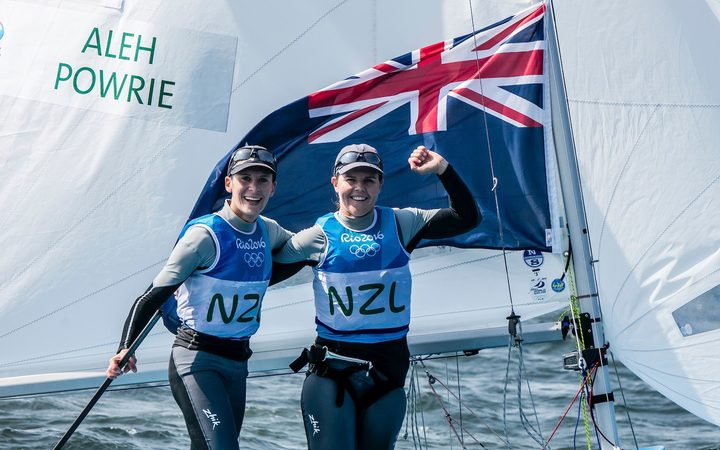 Jo Aleh and Polly Powrie celebrate winning Silver in the 470W class at the Rio Olympics.