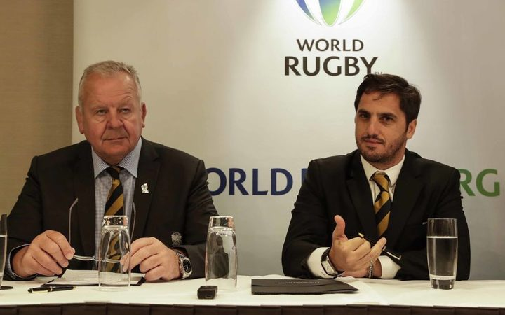 World Rugby Chair Bill Beaumont, (left), and Vice-Chair Agustin Pichot