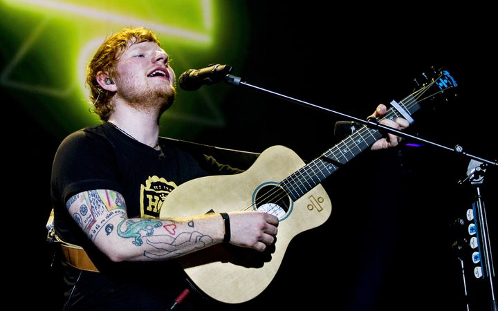 British singer-songwriter Ed Sheeran performs during a concert at the Ziggo Dome in Amsterdam in early April.