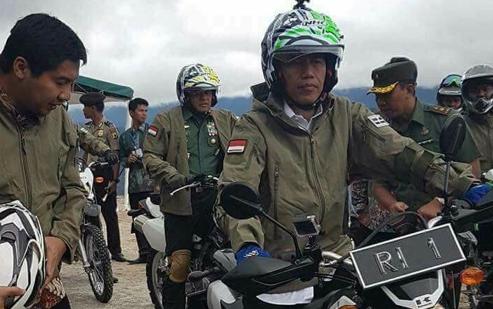 Indonesian president Joko Widodo in West Papua, May 2017, inspecting work on the new Trans-Papua Highway, one of a series of infrastructure projects his government is building in the region.