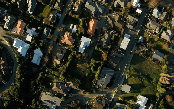 An aerial view of a Christchurch suburb.