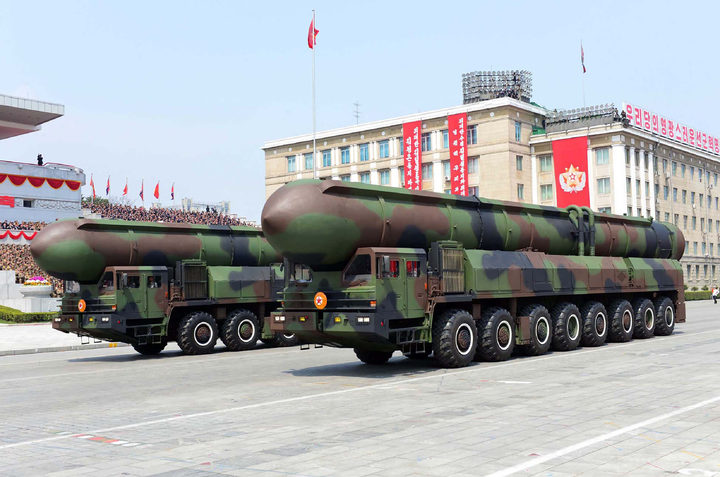 A picture released by North Korea last month which shows ballistic missiles on display during a military parade.