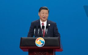 Chinese President Xi Jinping speaking at the One Belt, One Road international forum.