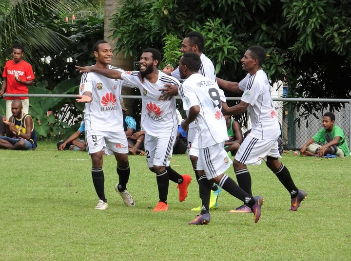 PS Huawei FC celebrate the winning goal in their National Soccer League match against Madang FC.