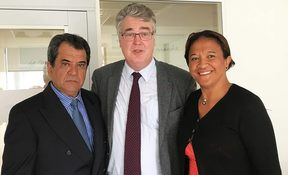 En Marche's Jean-Paul Delevoye receives French Polynesia's Edouard Fritch and Lana Tetuanui