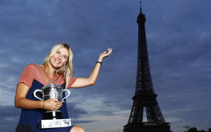 Maria Sharapova after she won the French Open in 2012