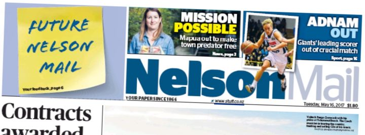 The Nelson Mail promoting its consultation with readers on the front page.