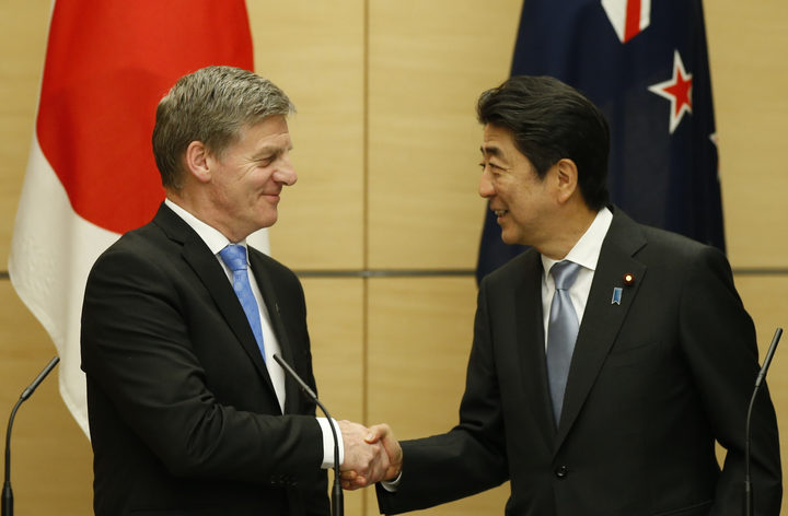 Prime Minister Bill English, left, with Japan's Prime Minister Shinzo Abe during a joint news conference at Mr Abe's official residence in Tokyo on Wednedsay.