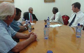 Tonga PM 'Akilisi Pohiva (c) meeting with the Pacific Games Council Executive Board in 2015.