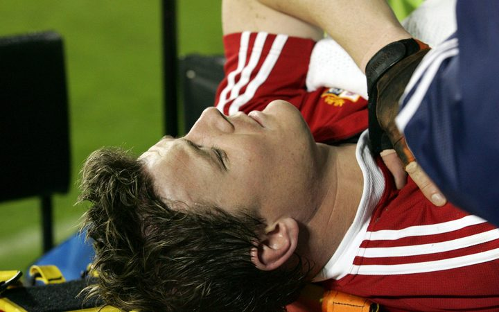 Brian O'Driscoll is stretchered off during the first Test between the All Blacks and Lions in Christchurch in 2005.