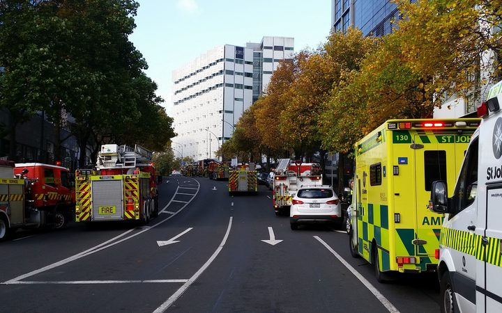 Fire trucks at the scene of the fire in central Auckland.