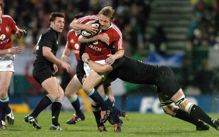 Lions player Jonny Wilkinson charges ahead during the first test between the All Blacks and the British and Irish Lions in 2005.