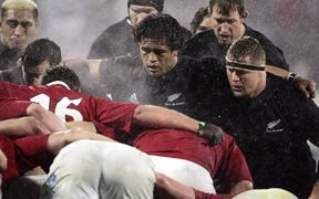 The All Black forward pack get ready for a scrum in the first Test against the Lions in Christchurch in 2005.