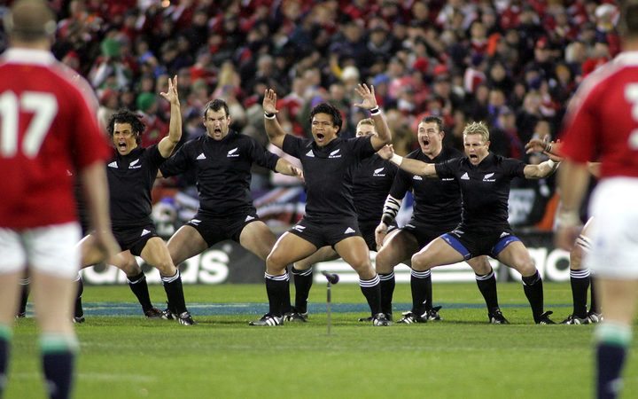 The 2005 All Blacks perform their haka before taking on the Lions in the first Test.