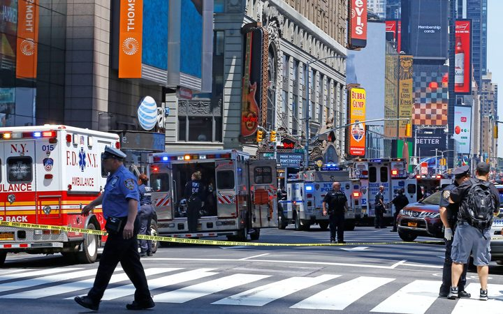 Ambulances at scene after the car mounted the footpath and drove into pedestrians on the corner of West 45th Street and Broadway at Times Square.