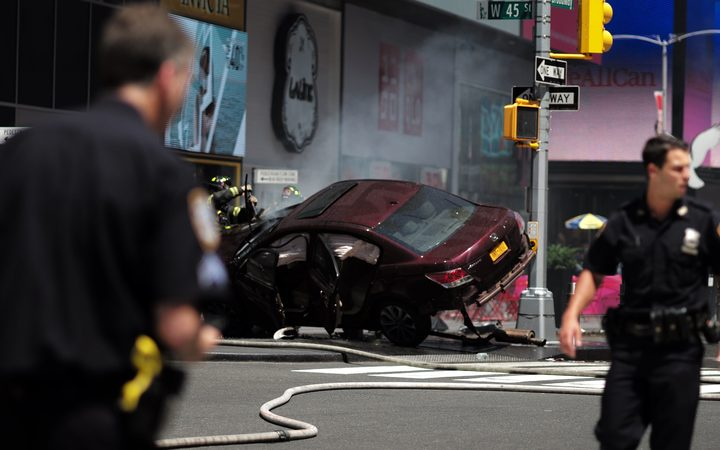 The car which mounted the footpath and drove into pedestrians on the corner of West 45th Street and Broadway at Times Square.