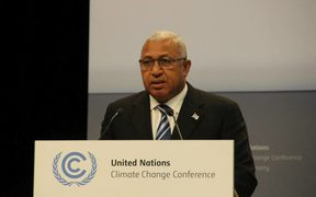 Fiji Prime Minister Frank Bainimarama addressing climate change talks consultations in Bonn, May 2017