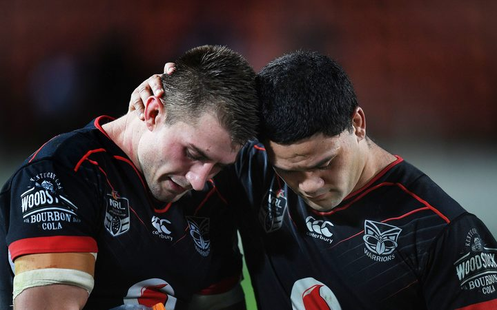 an Foran and Issac Luke after a Warriors loss.