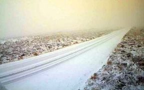Snow on the Desert Road today.