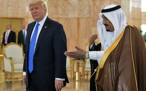 US President Donald Trump and Saudi Arabia's King Salman bin Abdulaziz al-Saud stop for coffee in the terminal of King Khalid International Airport following Trump's arrival in Riyadh.