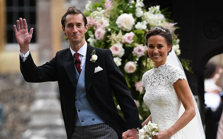 Pippa Middleton and her new husband James Matthews leave St Mark's Church in Englefield, west of London, on May 20, 2017