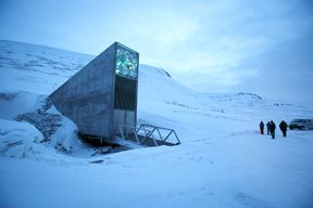 The entrance of the international gene bank Svalbard Global Seed Vault (SGSV), outside Longyearbyen on Spitsbergen, Norway.