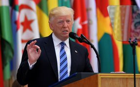 US President Donald Trump speaks during the Arabic Islamic American Summit at the King Abdulaziz Conference Center in Riyadh, Saudi Arabia.