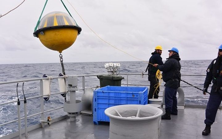 The Defence Force deploying the buoy in the Southern Ocean.