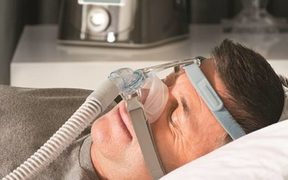 One of the breathing masks built by F&P Healthcare to treat obstructive sleep apnea.