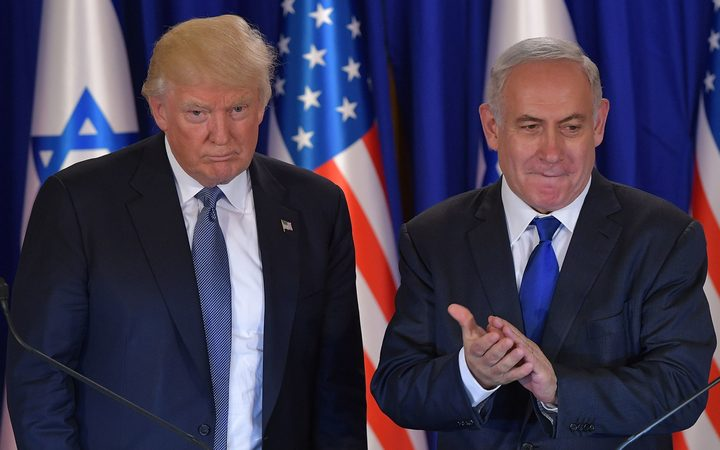 US President Donald Trump and Israel's Prime Minister Benjamin Netanyahu shake hands after delivering press statements before an official dinner in Jerusalem.