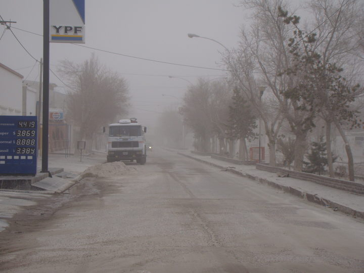 Street covered in volcanic ash