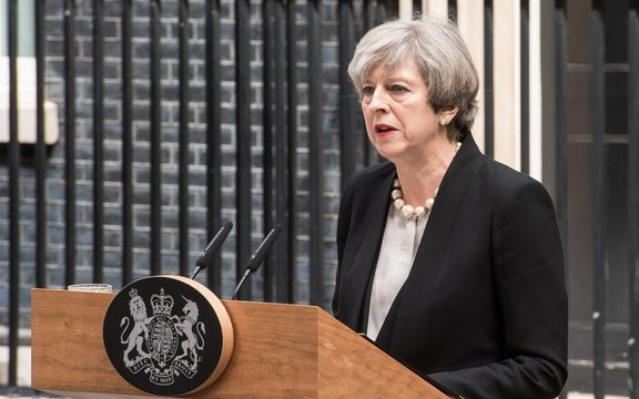 British Prime Minister Theresa May, delivers a statement outside number 10 Downing Street in London.