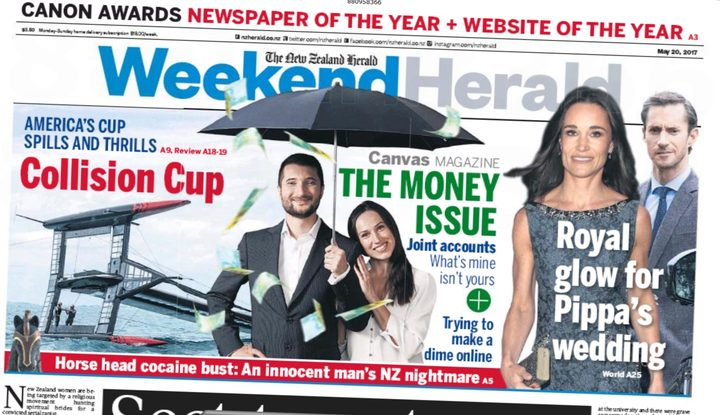 The Weekend Herald trumpets its newspaper of the year award on the front page.