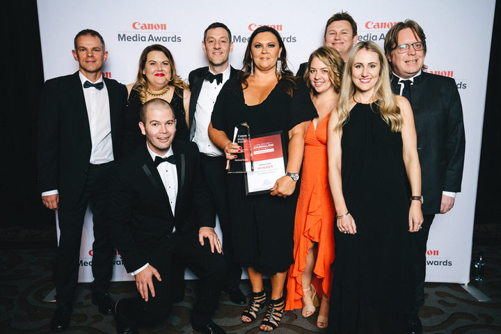 Miriyana Alexander with the newspaper of the year award flanked by other New Zealand Herald journalists at the Canon Media Awards.