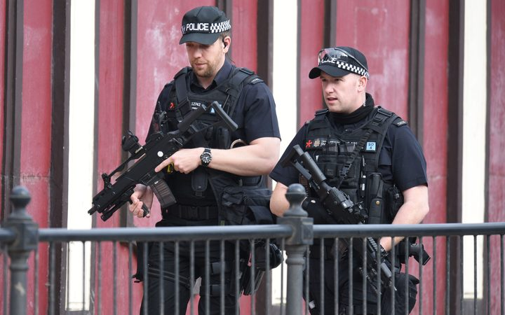 Armed police on patrol in Manchester following the deadly terror attack.